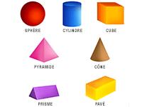 Les solides : cercle, carré, triangle, hexagone, rectangle, pentagone, étoile, losange, trapèze
