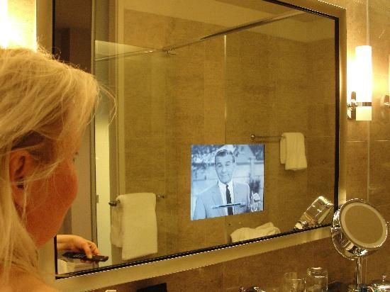 Trump International Hotel Tower Chicago Picture TV IN BATHROOM MIRROR