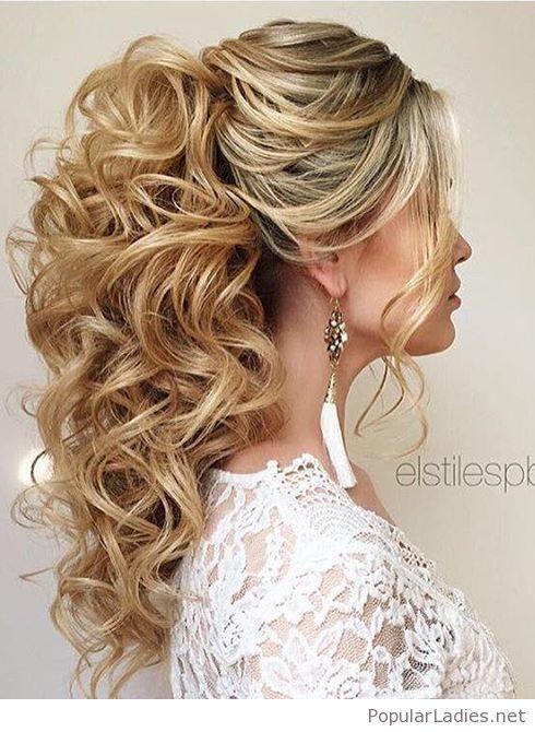 High Curly Ponytail Wedding Hair Curly Prom Hair Wedding