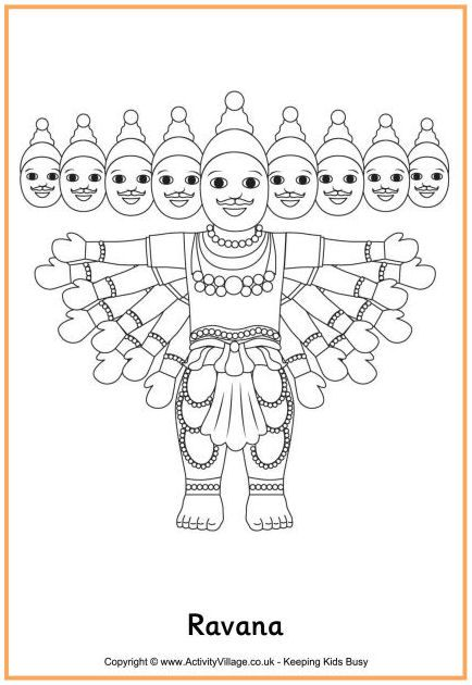 Ravana Colouring Page Coloring Pages Diwali Story