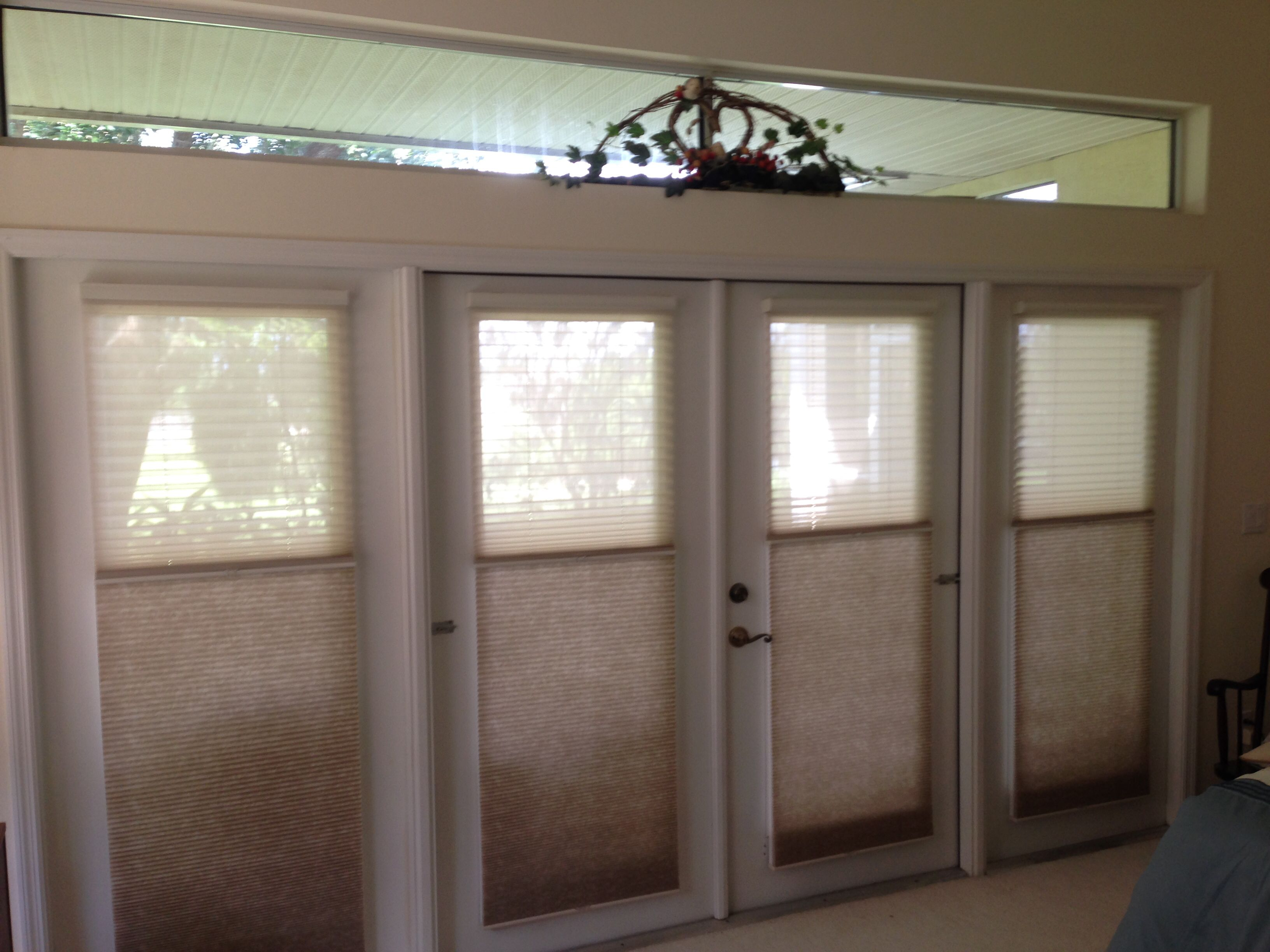 Unison cellular shades combine sheer on top and light filtering