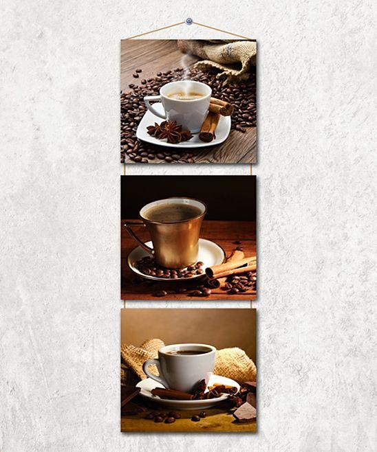 Coffee Scenes Three-Panel Hanging Wall Art