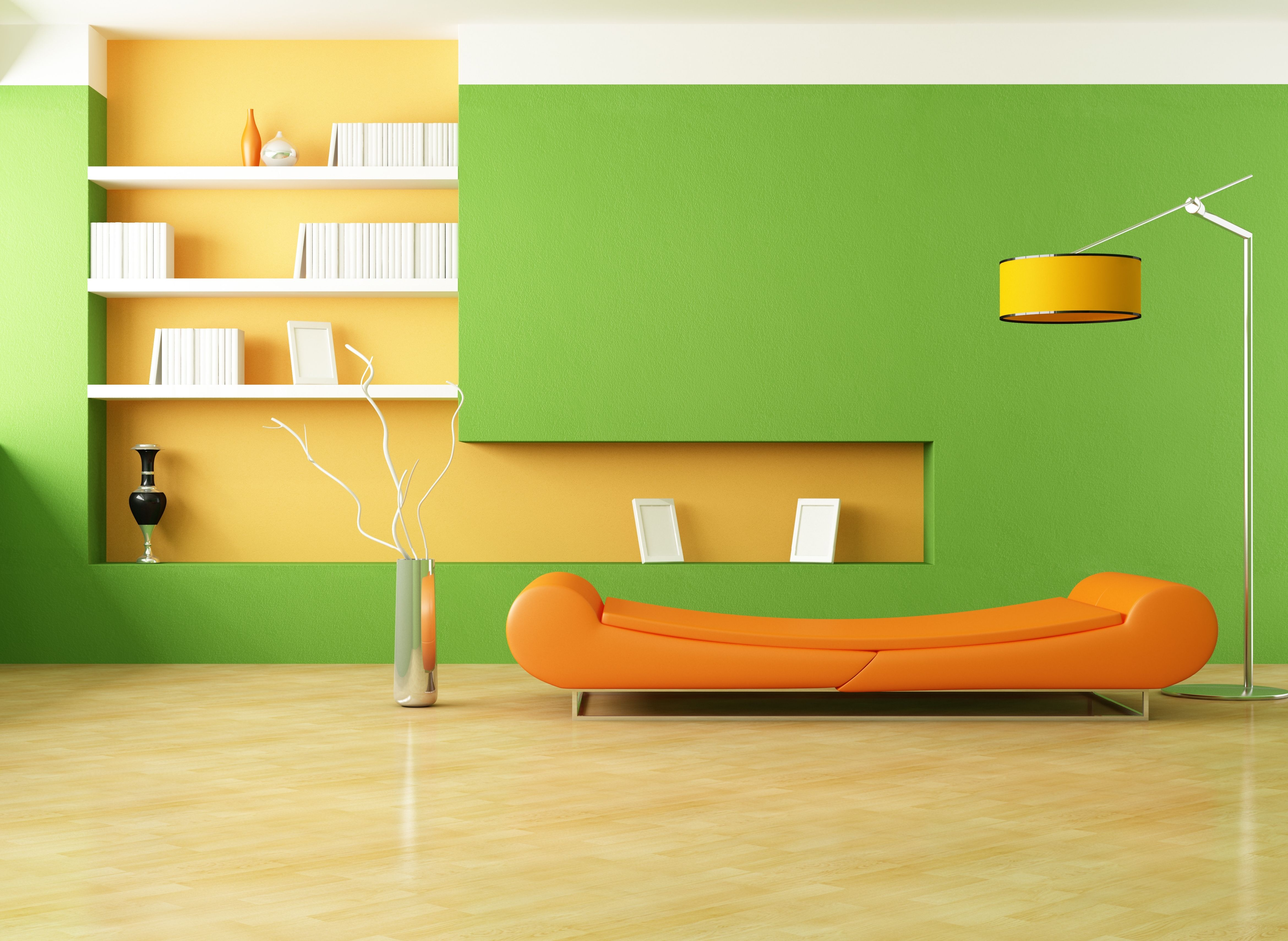 House Design,Inspire Home Interior Design With Green Wall Paint On Combine  Orange Painted For Hanging Shelf And Comfortable Orange Leather Sleeping  Chair ...