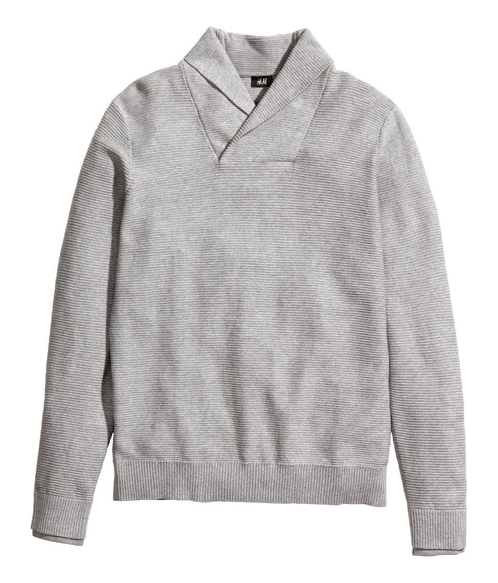 adb8a6cfa370cd Gray texture-knit sweater with shawl collar.│ H M Men