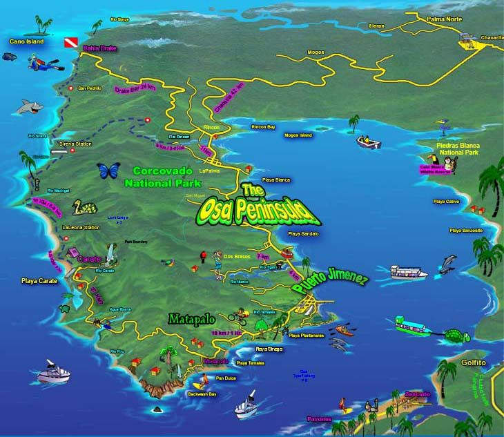 osa peninsula costa rica map The Lush Forests And Teeming Marine Ecosystems Of The Osa Harbor osa peninsula costa rica map