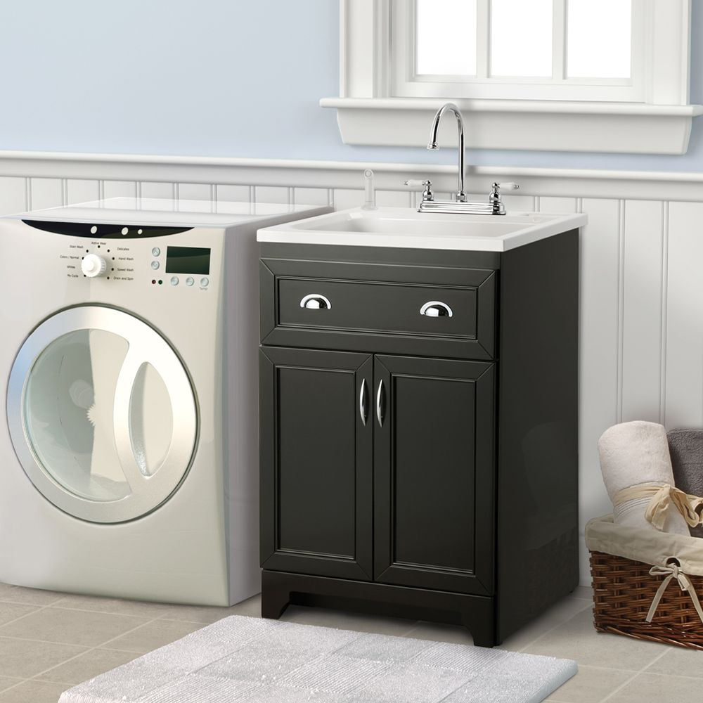 Denman 24 In Laundry Sink With Cabinet In Espresso Home Depot