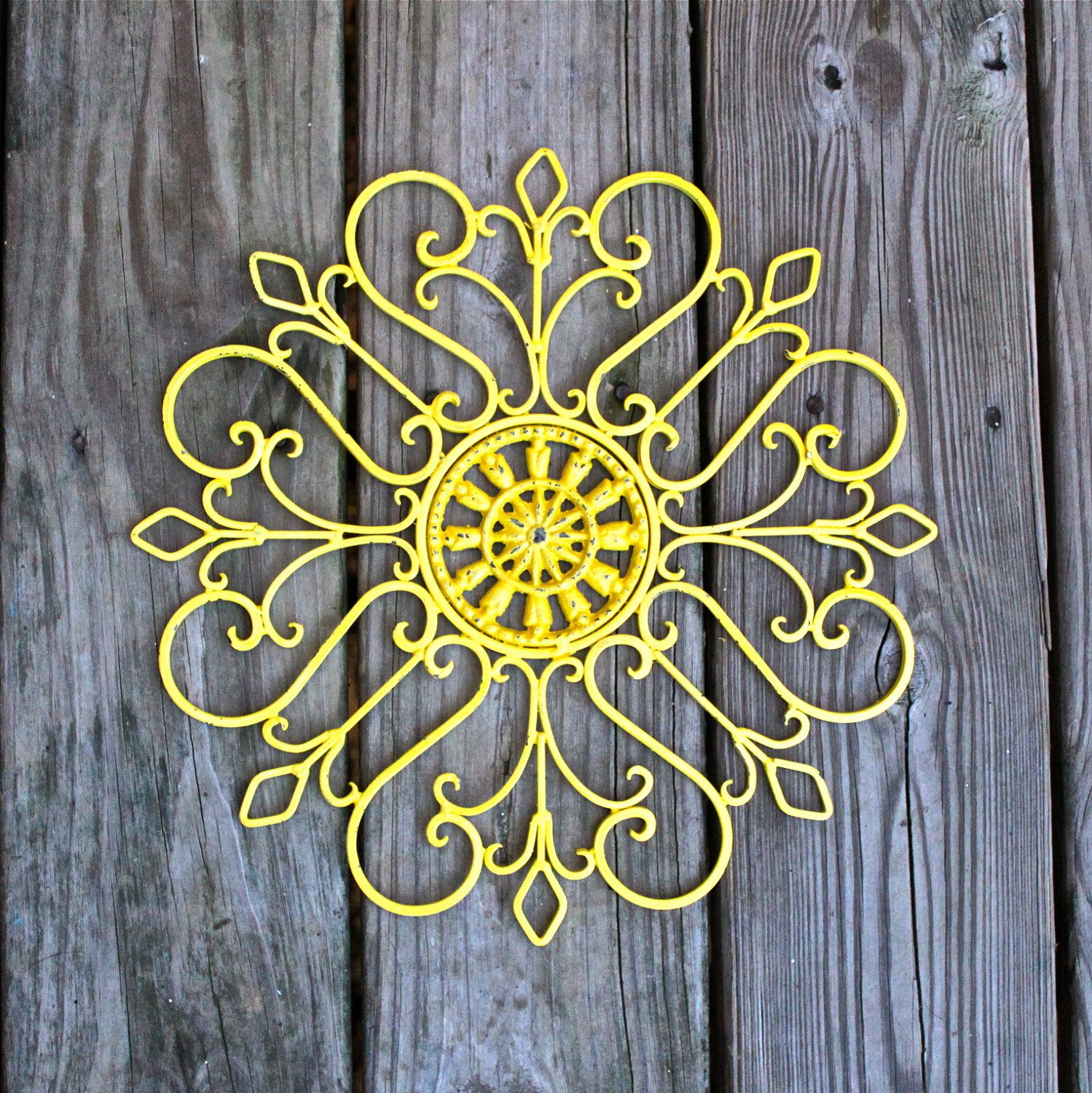 Metal Wall Fixture /Yellow /Distressed Patio Decor /Painted Bright ...