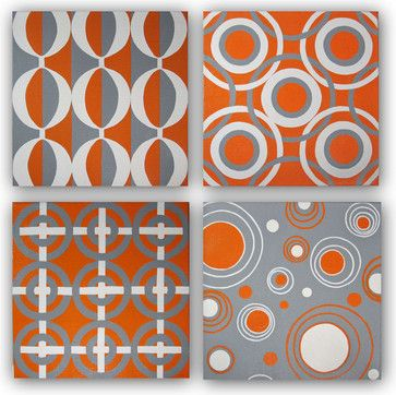 The Geometric Patterns In This Hand Painted Original Orange And Grey Canvas Wall Art Set Were Inspired By Mid C Canvas Wall Art Set Wall Art Sets Circle Canvas