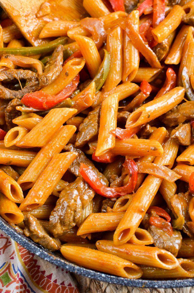 Syn Free One Pot Beef Fajita Pasta | Slimming Eats - Weight Watchers and Slimming World Recipes