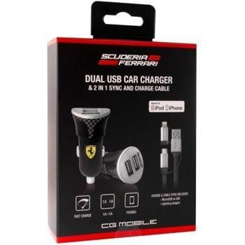 Car Charger with Carbon Print Bundle Pack - 1 Dual USB car charger - 1 Cable with micro USB connector - 1 Lightening adaptor CHARGE & Sync cable - Made for iPhone 6 Plus, 6,5/5S & iPhone 5c iPod touch