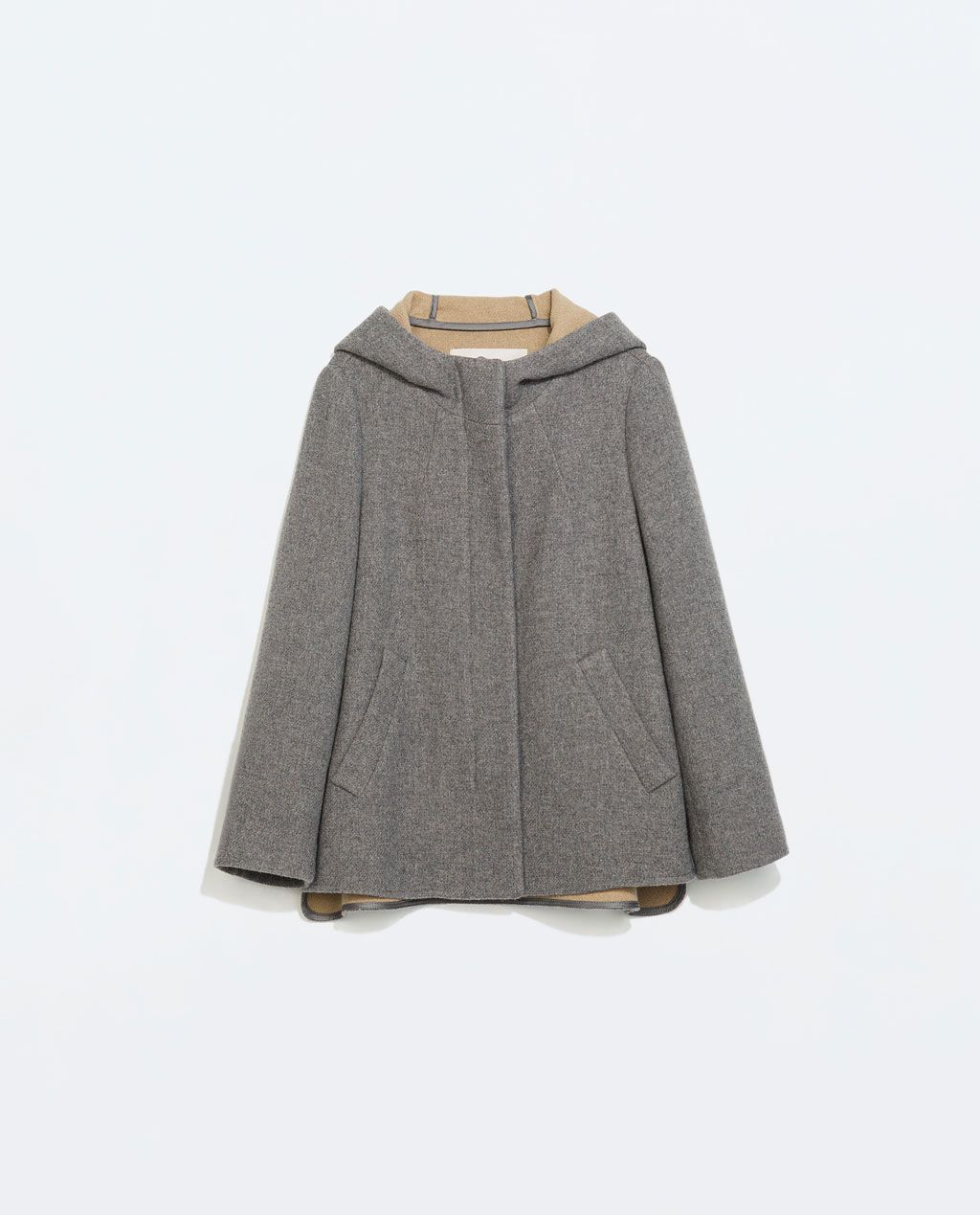 Short Wool Jacket with Hood, Grey, from Zara | Tuch