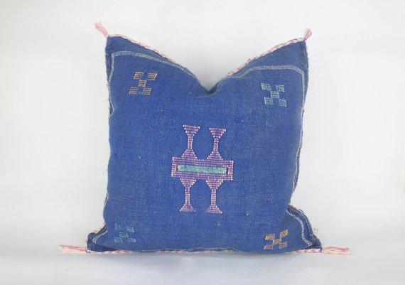 Moroccoan pillow cactus silk pillow morocco decor blue morocco cushion cactus silk cushion sabra cushion boho Pillow morocco throw pillow