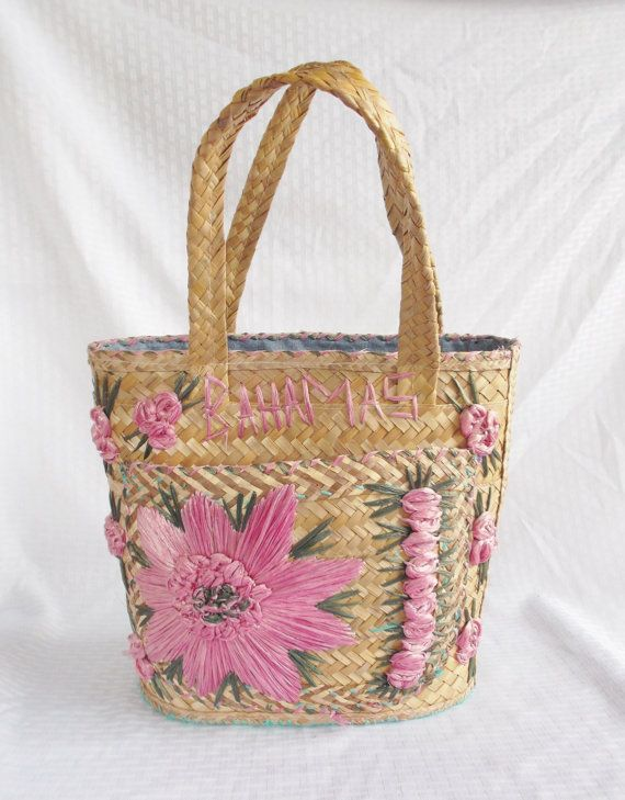 1960 S Vintage Straw Bahamas Beach Tote Bag By Myvintagehat 25 00