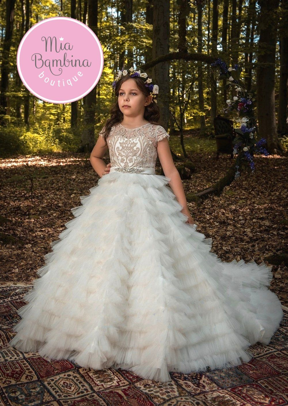 Flower Girl Dresses Veracruz Ivory And Gold Flower Girl Dress With Train And Puffy Skirt In 2021 Flower Girl Dresses Kids Dress Girls Pageant Dresses [ 1410 x 1000 Pixel ]