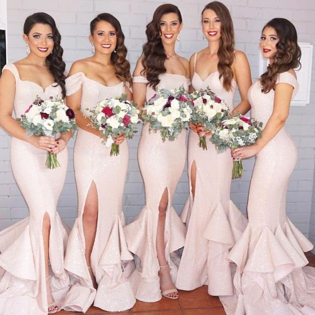 Elegant Mermaid Light Pink Country Bridesmaid Dresses Sexy Slit ...