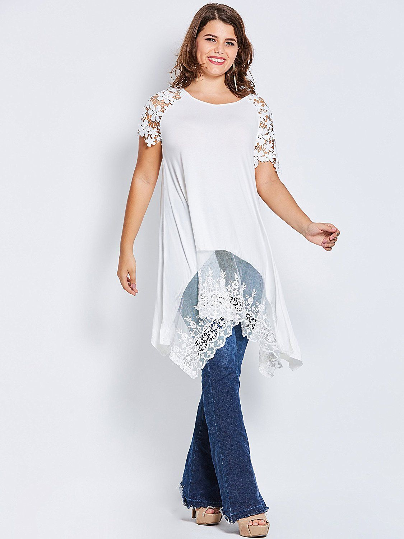Kinikiss womenus tshirt plus size short sleeve round neck patchwork