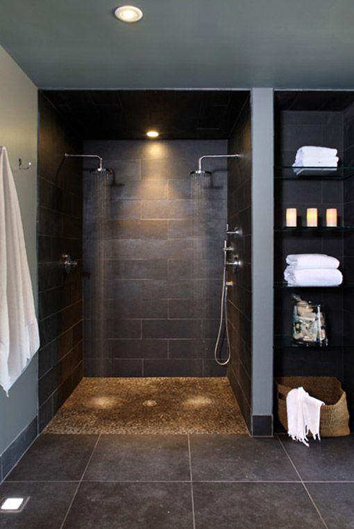 Black Luxury Bathroom With Two Showers Spa Bathroom Design