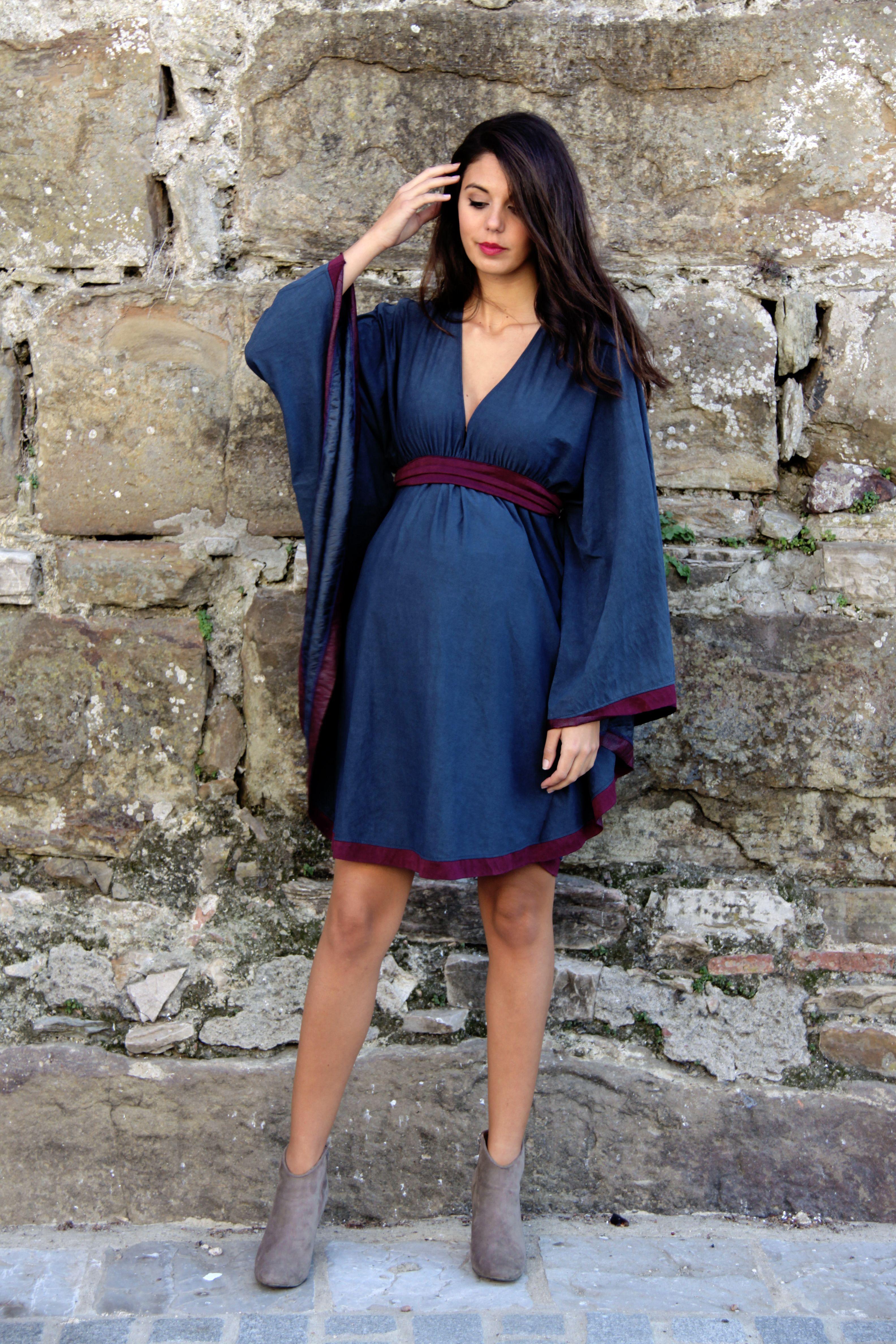 848d0616f Modelo BATUS). Vestido de fiesta premamá en color azul cobalto con ...