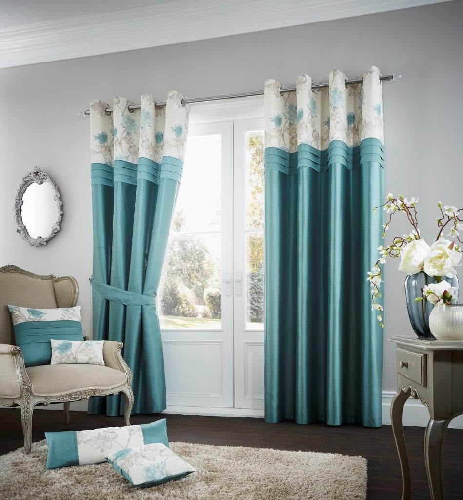 Koh Teal Lined Eyelet Curtains Linen And Bedding