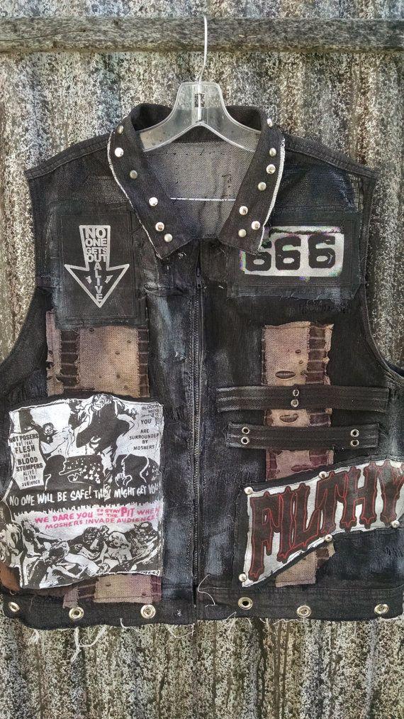 593a3e1d71ff5 Mens punk rock crust punk Rob Zombie vest Distressed Skulls sz. XL ...