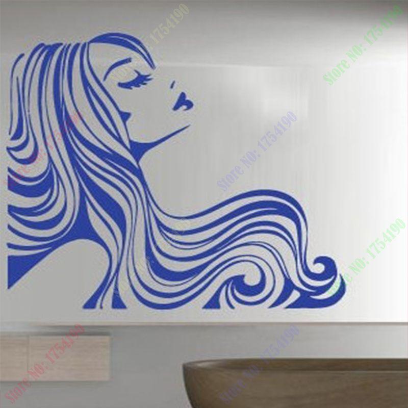 Venda quente adesivos de parede cabelo barbeiro salo de beleza venda quente adesivos de parede cabelo barbeiro salo de beleza decalque de vinil a menina decorao fandeluxe Images
