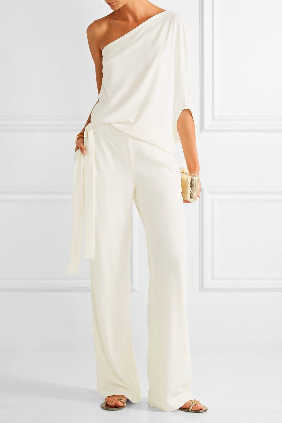 Halston Heritage - One-shoulder draped stretch-crepe jumpsuit