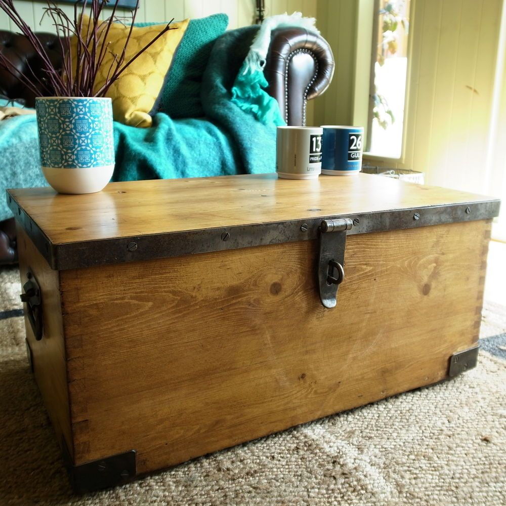 Vintage trunk storage chest wwii military chest industrial ammo vintage trunk storage chest wwii military chest industrial ammo box coffee table geotapseo Choice Image