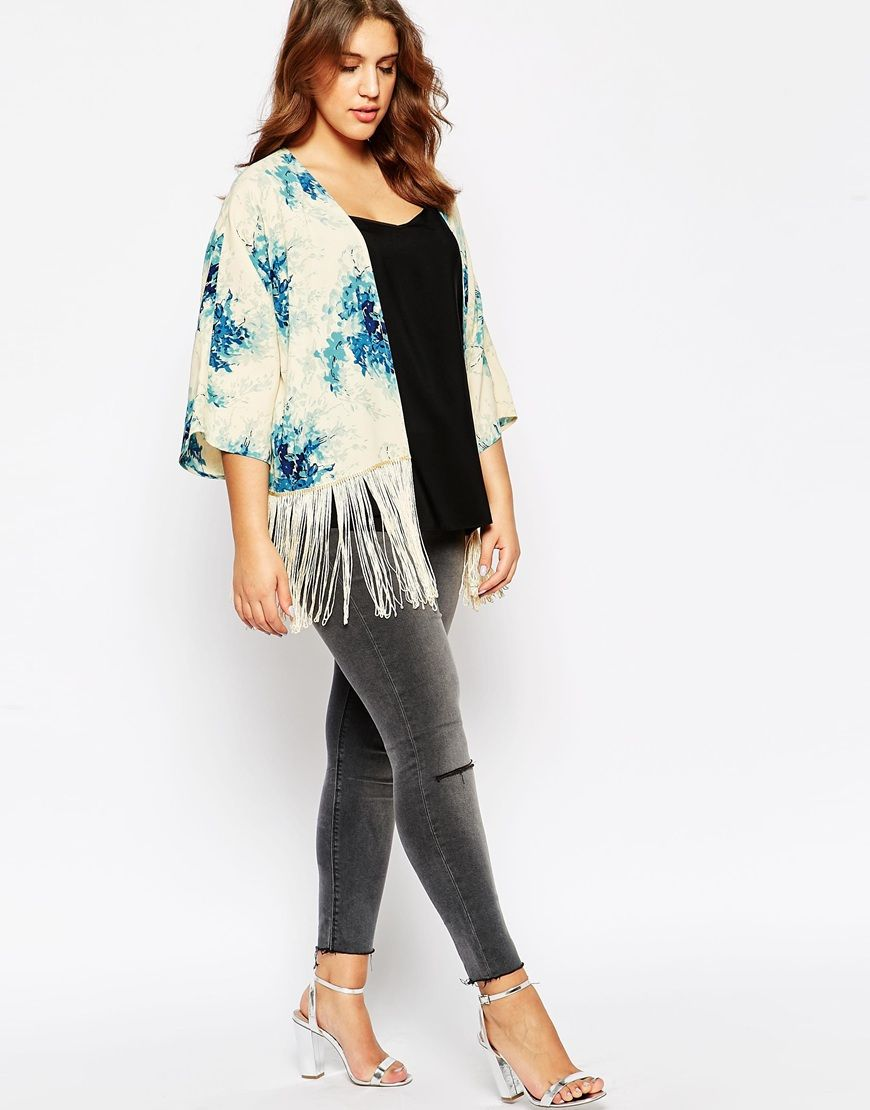 Plus Size Cropped Kimono With Fringing In Vintage Floral Print ...