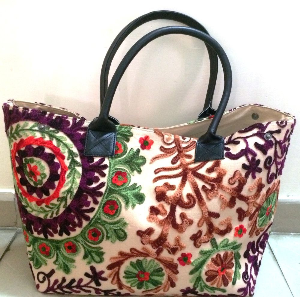 Handmade Suzani Embroidered Brown color Cotton Tote shoppers traveller bag