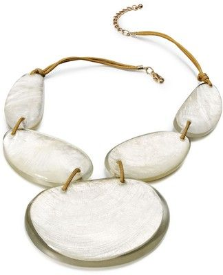 Style Necklace, Gold Tone White Resin Shell Statement Ne... - Polyvore