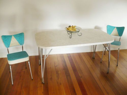 Vintage Retro Laminex Laminate Kitchen Dining Table And 2 Chairs Enchanting Laminate Kitchen Table Design Inspiration