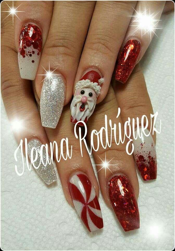 Uñas nails Christmas, navidad rojo blanco plateado 3d corte puerto rico