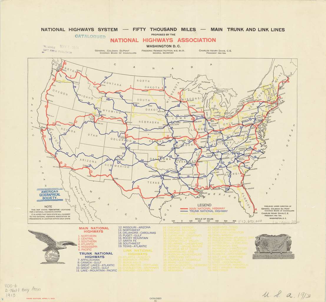 1913 proposal for a US national highway network  MAPS  Pinterest