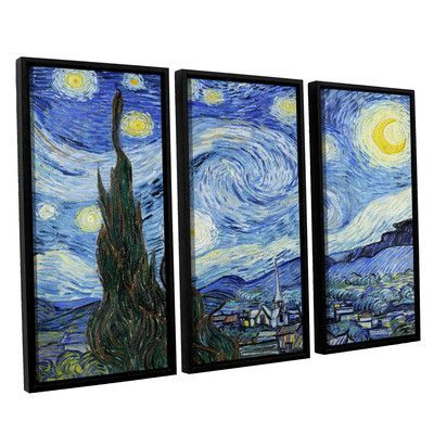 ArtWall Starry Night (Lighter Version) by Vincent Van Gogh 3 Piece Framed Painting Print on Canvas Set
