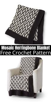 Photo of Kostenlose Häkelanleitung – Mosaic Herringbone Blanket