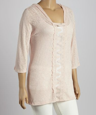 Another great find on #zulily! Pink Lace-Trim Hoodie - Plus by Chris & Carol #zulilyfinds