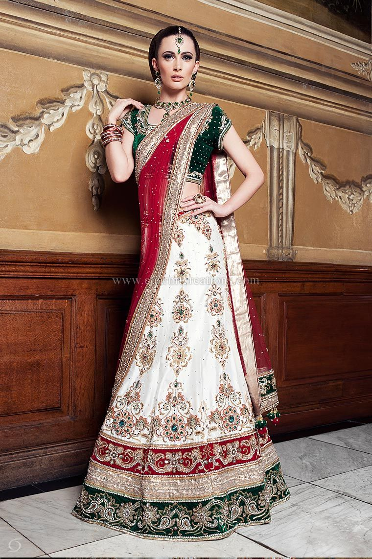 Traditional Off White Raw Silk Wedding Lengha With 3 Colour Velvet Borders And Emerald White Indian Wedding Dress Asian Wedding Outfits Indian Wedding Outfits [ 1142 x 760 Pixel ]