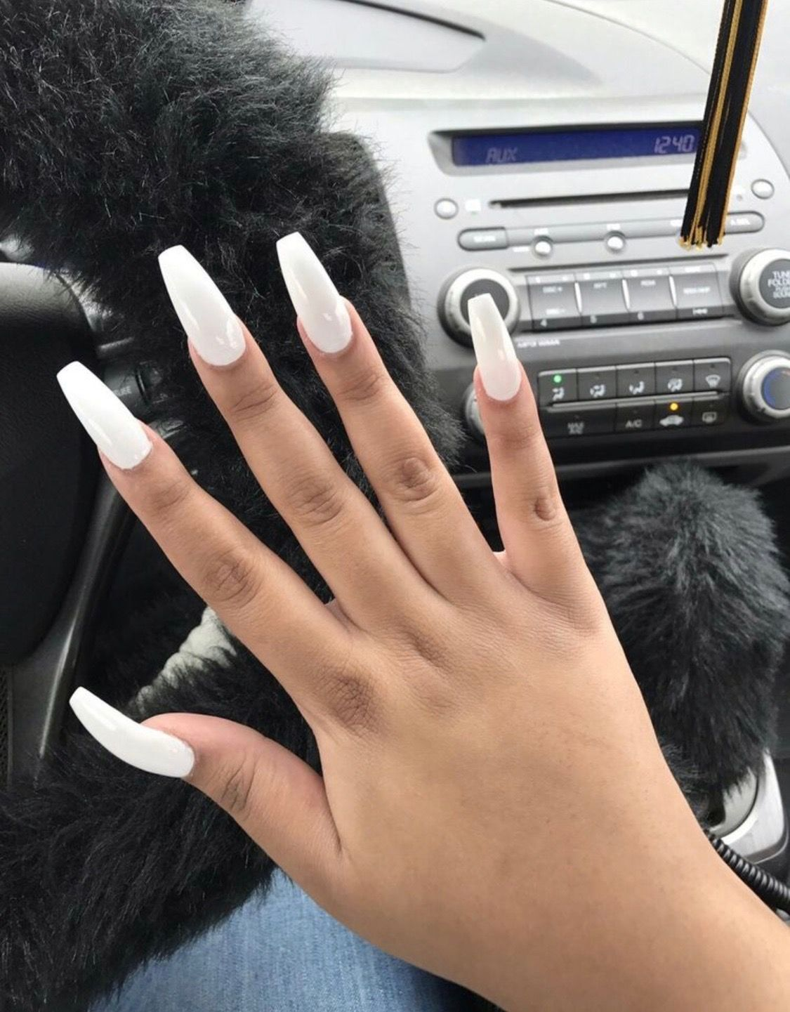 White Coffin Acrylic Summer Long Nails Long Square Nails White
