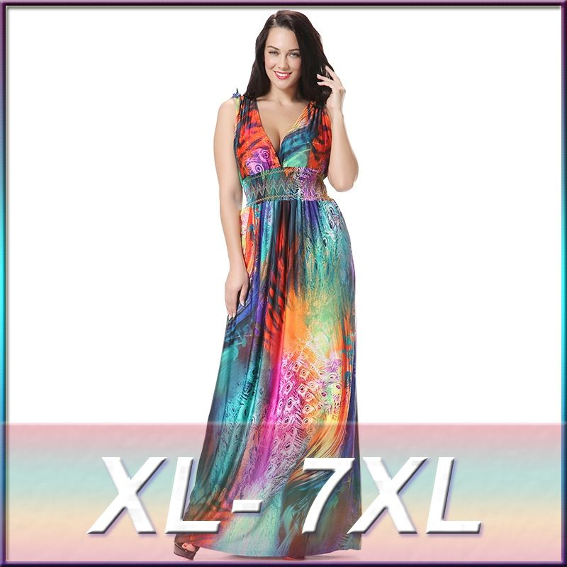 a0926d31460 JRQIOT Women Big Large Plus Size Beach Maxi Dress Elegant Sexy Evening Long  Party Dresses 5xl