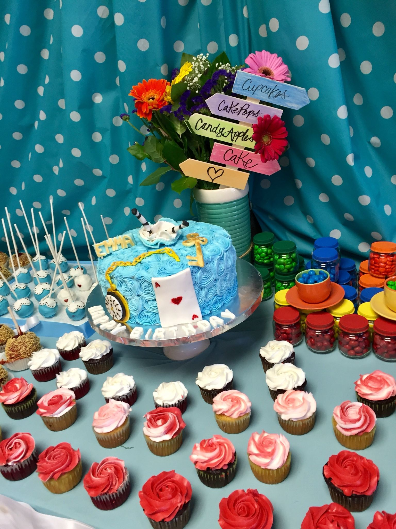 Alice in Wonderland cake table The cupcakes