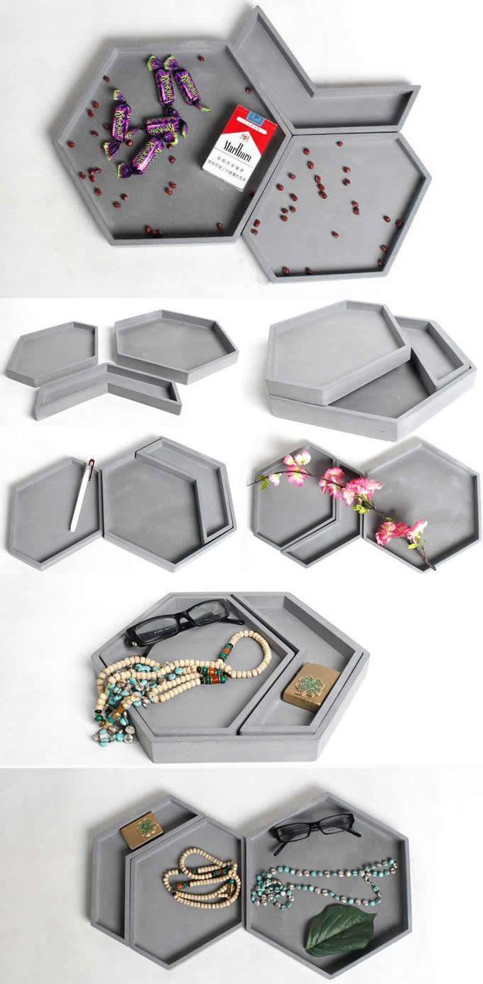 Bamboo Office Desk Organizer Jewelry Display Storage Tray Holder Set