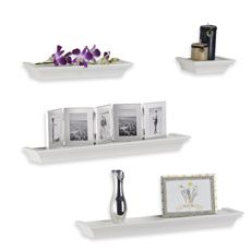 four piece white ledge set for the bathroom for the home rh pinterest com 3 Tiered Wall Mounting Wooden Shelves floating ledge shelves white
