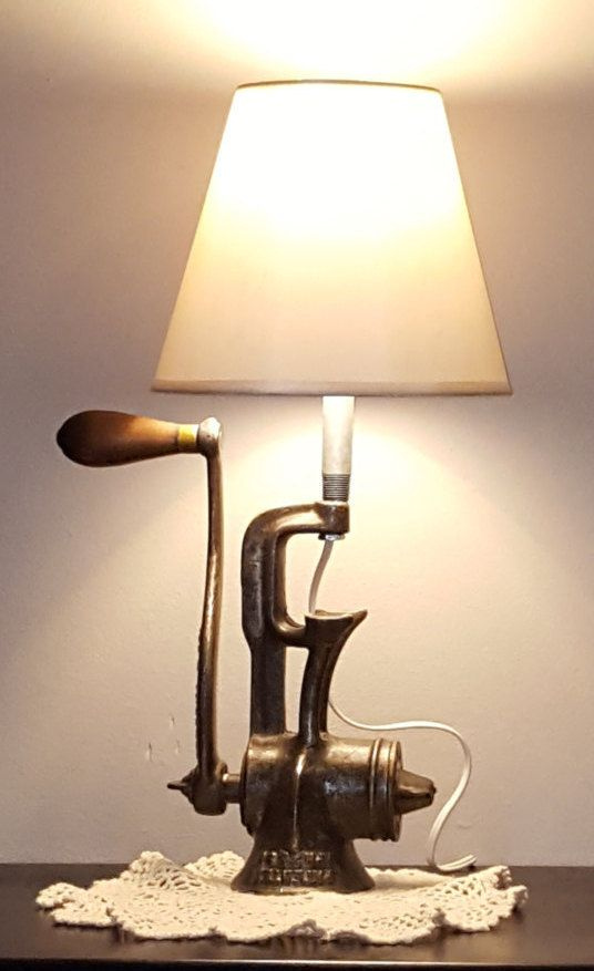 upcycled lighting ideas. Meat Grinder Lamp, Unique Lighting, Re Purposed Grinder, Industrial Desk Upcycled Metal Steampunk Fun Lighting Ideas
