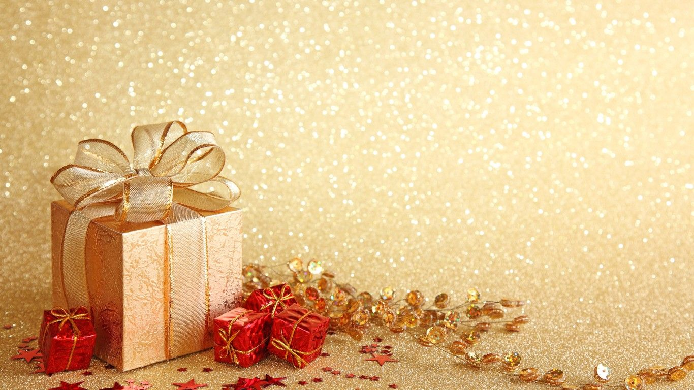 Wallpaper Download 1366x768 Christmas Gift Boxes Golden Background Christmas Holiday Wallpapers Photo Christmas Gifts Christmas Greetings Christmas Gift Box