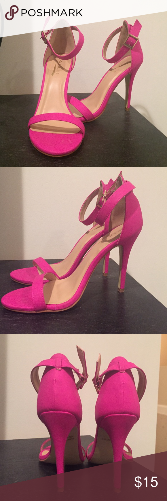 Never worn Galze hot pink ankle strap heels Never worn hot pink ankle strap heels Glaze Shoes Heels