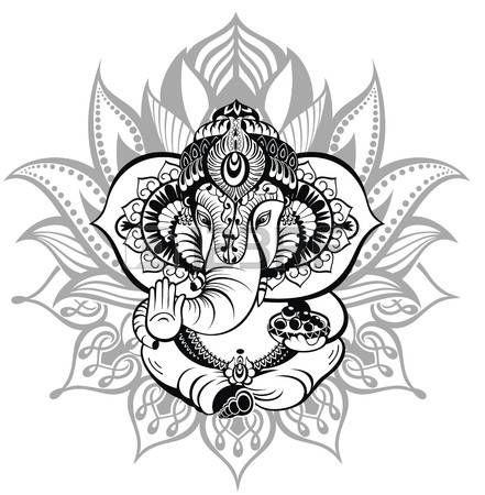 Lotus Flower Tattoo Designs Greeting Beautiful Card With Elephant Ornament God Ganesha Lotus Flower Tattoo Design Flower Tattoo Designs Ganesha