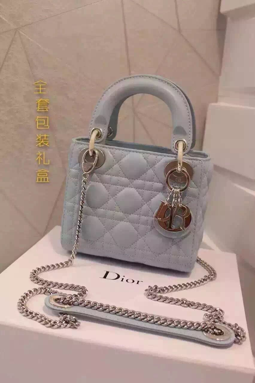 facf0f3ba3 Dior Lady Dior Mini Lambskin Bag In Light Blue With Silver Hardware(Double  Strap)