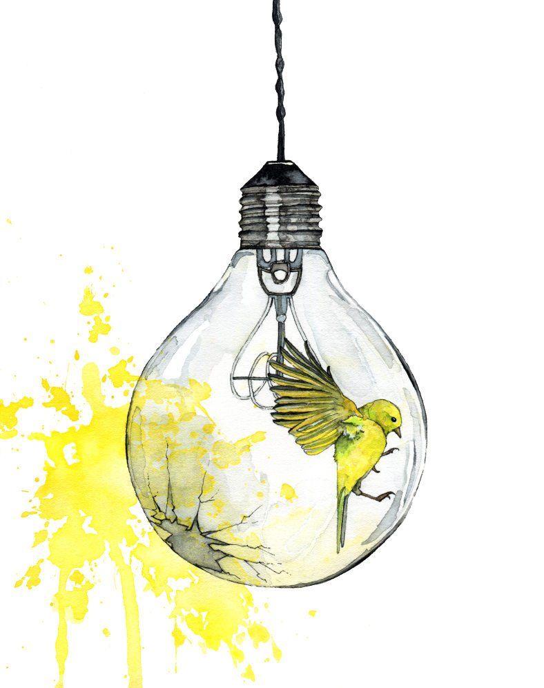 Watercolor Painting, Light Bulb Painting, Watercolor Print, Bird, Paint Splatter, Light Bulb Art, Bird Print, Print titled, Shattering