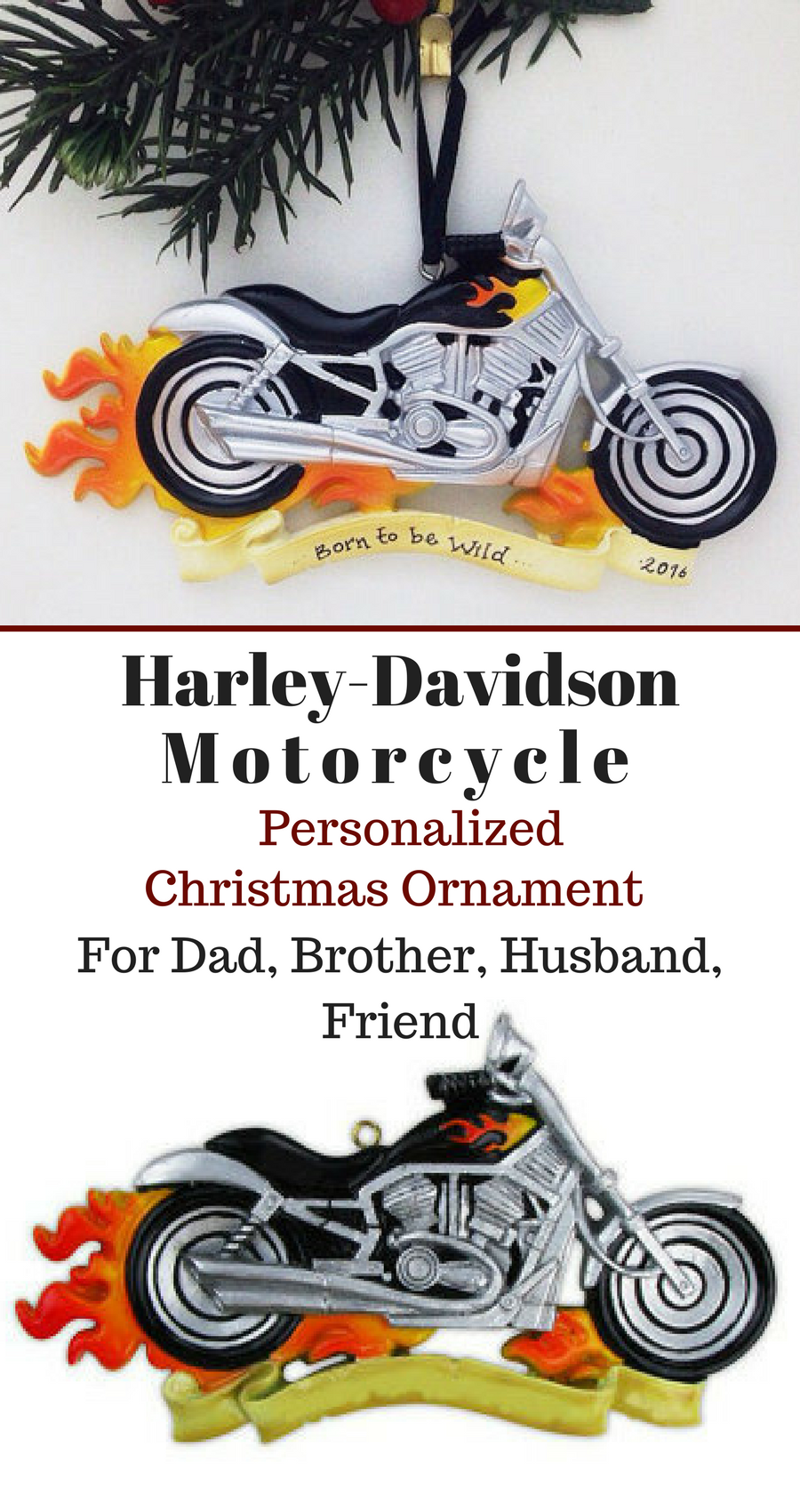 Motorcycle Personalized Christmas Ornament / Harley Davidson ...