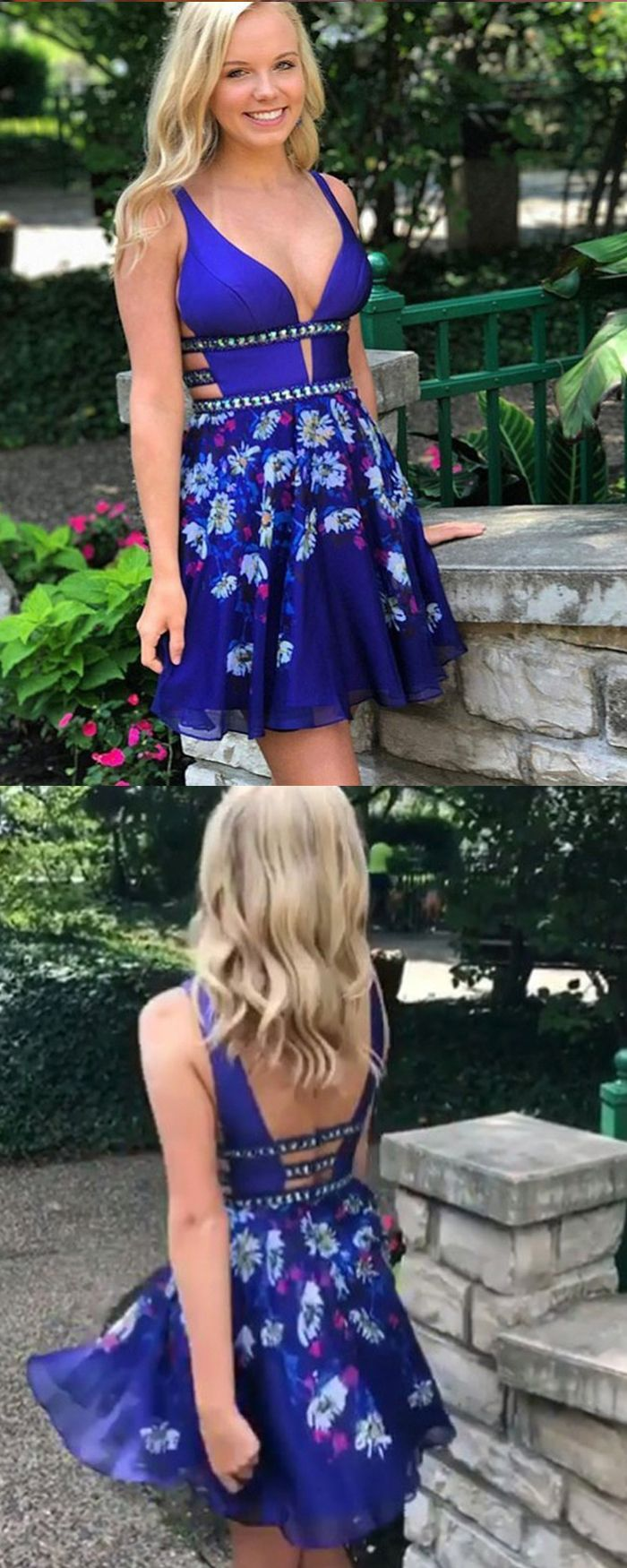 Cut out royal blue vneck satin floral print homecoming dress hd